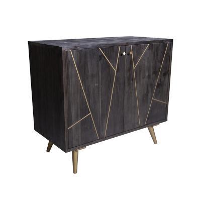 Buffet pequeño madera y acero negro 90x102x50 cm