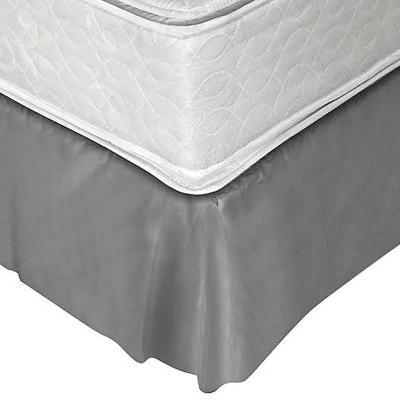 Faldón 144 hilos clásico liso 2 plazas gris