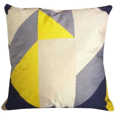 Cojín triángulos gris amarillo lino 45x45 cm