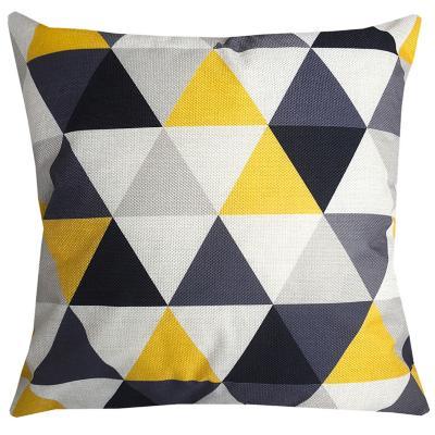 Cojín triángulos gris  y amarillo lino 45x45 cn