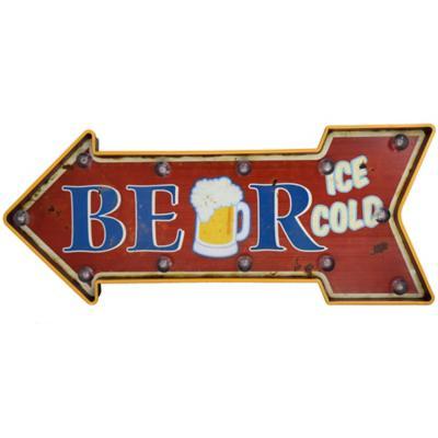 Letrero led beer flecha ice bateria 2xAA