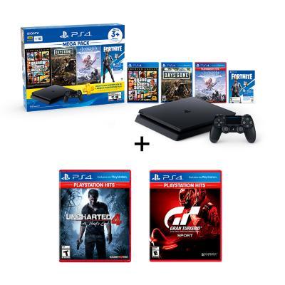 Combo PS4 1TB bundle Mega 6 + Gran turismo sport Hits+ Uncharted 4 A thief´s end Hits