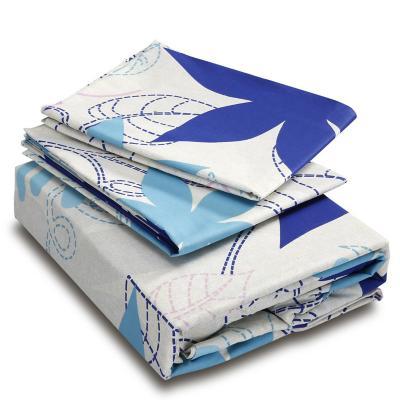 Sábanas 144 hilos poinsetia 2 plazas azul