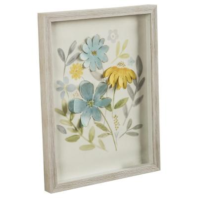 Cuadro Flor Craft azul 33x43 cm