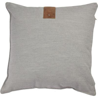 Cojín black&gray aplicación cuero gris 44x44 cm