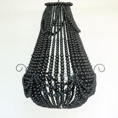 Pantalla para lámpara cuentas negras