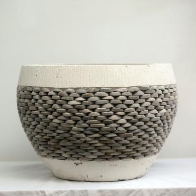Macetero piedra blanco 40 cm