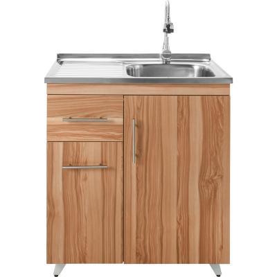 Kit mueble lavaplatos derecho 80x80x47 cm café