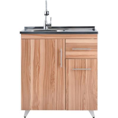Kit mueble lavaplatos izquierdo 80x80x47 cm café