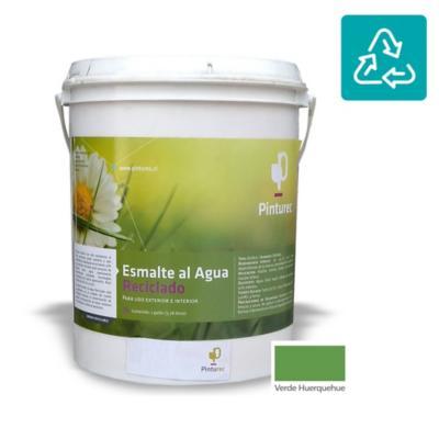 Esmalte al agua reciclado satin verde huerquehue 1 gl