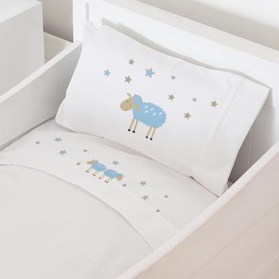 Juego sábanas cuna 70x140 cm diseño oveja celeste