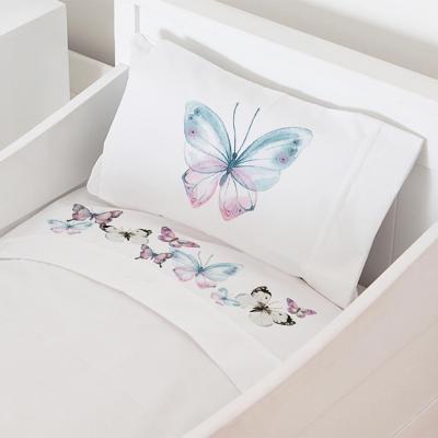 Juego sábanas cuna 70x140 cm diseño mariposas