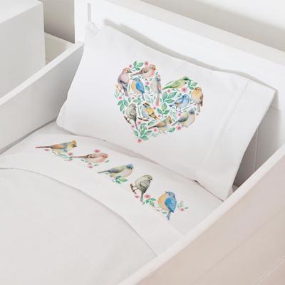 Juego sábanas cuna 70x140 cm diseño pajaritos