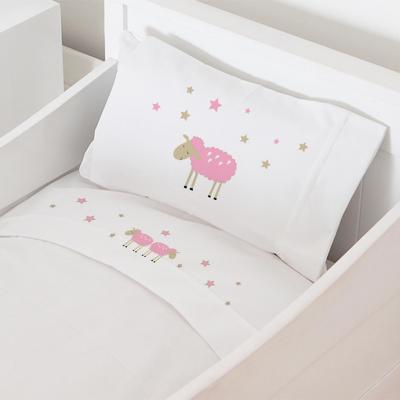 Juego sábanas moisés 50x80 cm diseño oveja rosada