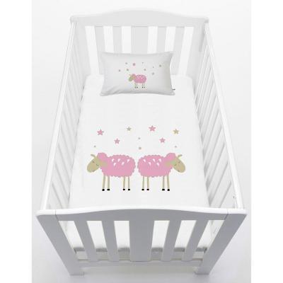 Cubreplumón cuna 70x140 cm diseño oveja rosada