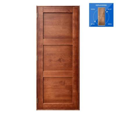 Puerta pino radiata con marco izquierda/derecha 80x200 cm castaño