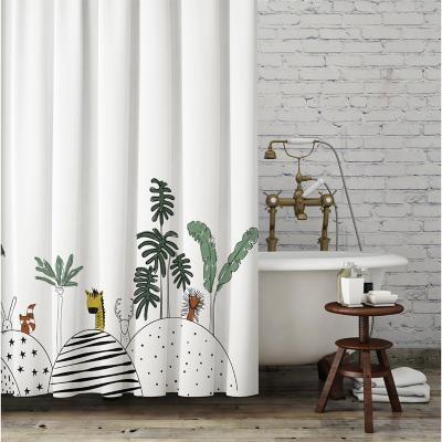 Cortina de baño blanca animal 180x180 cm