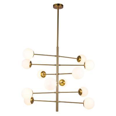 Lámpara colgante cristal dorada 12 luces g9