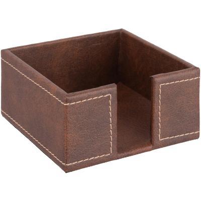 Servilletero 13,5x13,5x6,5 cm canela ecocuero