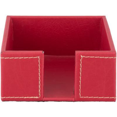 Servilletero 13,5x13,5x6,5 cm rojo ecocuero