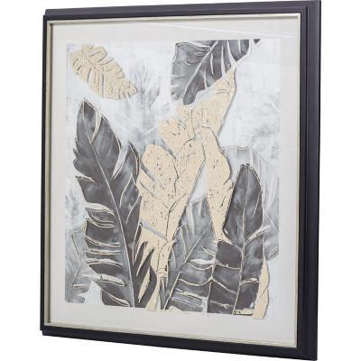 Cuadro hojas dorada 64x64 cm