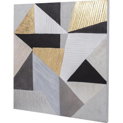 Óleo abstracto negro dorado 100x100