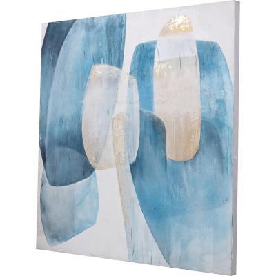Óleo abstracto turquesa 100x100 cm