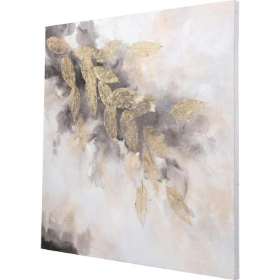 Óleo abstracto hoja 100x100 cm
