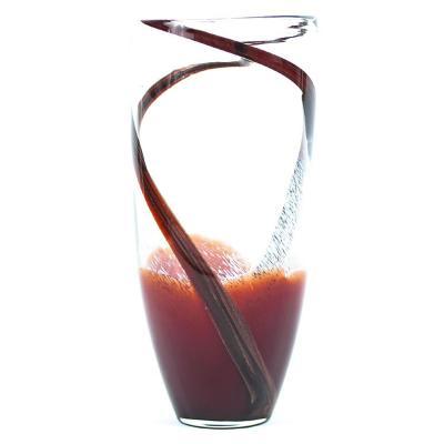 Florero vidrio 30x15 cm rojo