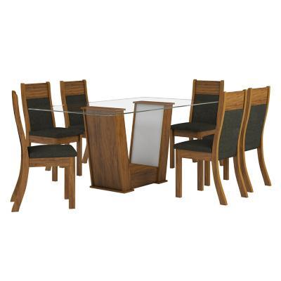 Juego de comedor rectangular 6 sillas 80x160x79 cm café