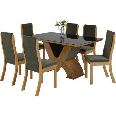 Juego de comedor 6 sillas 90x160x80 cm marron