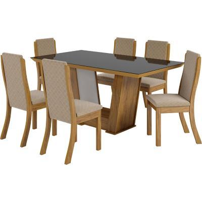 Juego de comedor 6 sillas 90x160x80 cm