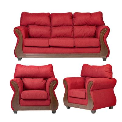 Juego living galileo 3 cuerpos + 2 sillones rojo