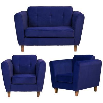 Juego living rodas 2 cuerpos + 2 sillones azul