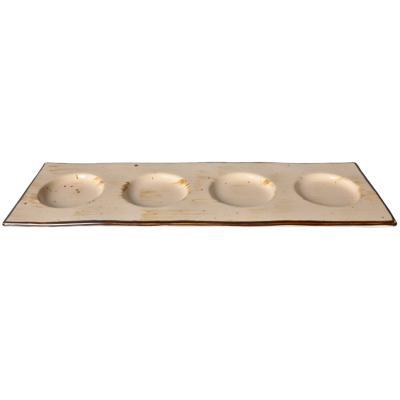 Bandeja 4 espacios 32,5x11x1,5 cm café-beige cerámica