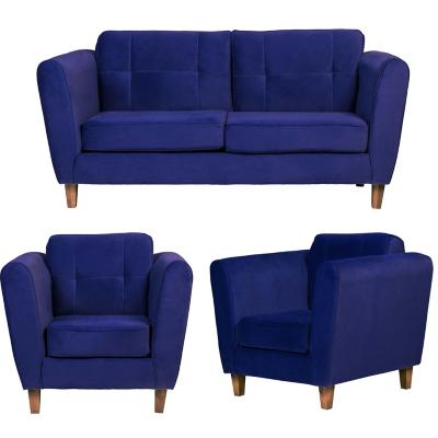 Juego living rodas 3 cuerpos + 2 sillones azul