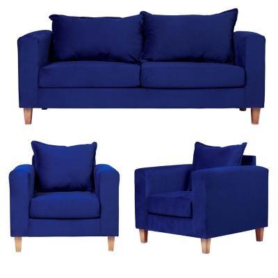 Juego living naxos 3 cuerpos + 2 sillones azul