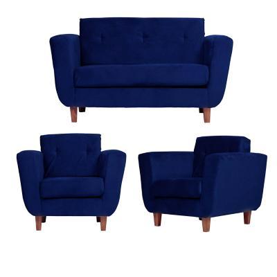 Juego living agora 2 cuerpos + 2 sillones azul