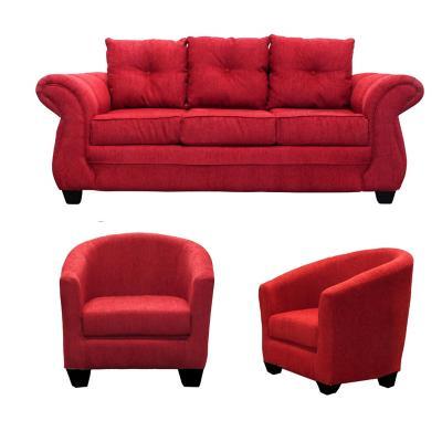 Juego de Living Bertolucci 3 cuerpos + 2 butacas rojo