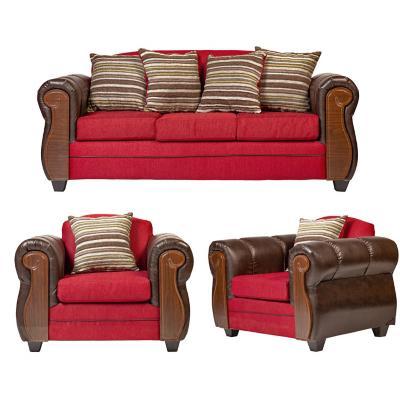 Juego living london 3 cuerpos + 2 sillones rojo