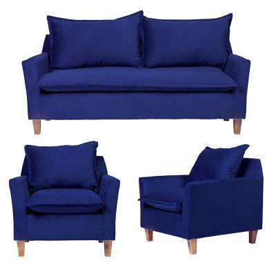 Juego living santorini 3 cuerpos + 2 sillones azul