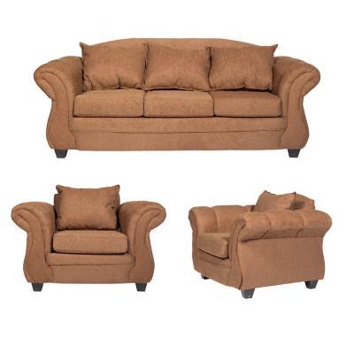 Juego de living Bertolucci sofa 3 cuerpos + 2 sillones café