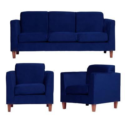 Juego de living zante 3 cuerpos + 2 sillones azul
