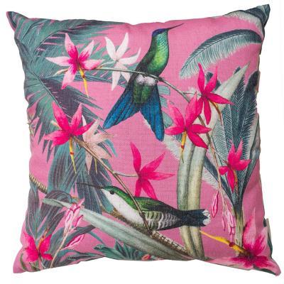 Cojín colibrí rosa focal 44x44 cm