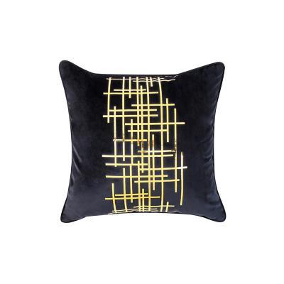 Cojín negro líneas doradas 45x45 cm
