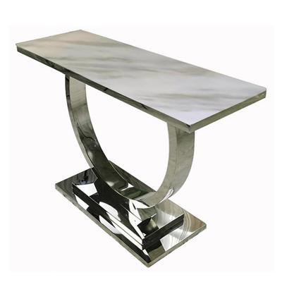 Mesa de arrimo plateado mármol 140x80 cm
