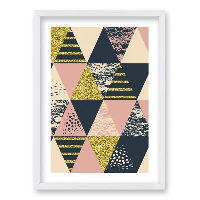 Cuadro 70x50 cm ilustración rosa triangular
