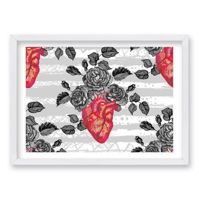 Cuadro 40x30 cm ilustración amor gris