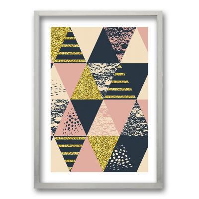 Cuadro 50x35 cm ilustración rosa triangular