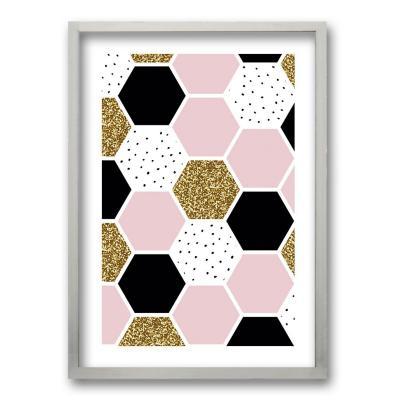 Cuadro 50x35 cm ilustración panal rosa